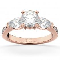 Three Stone Pear Cut Lab Grown Diamond Engagement Ring 14k Rose Gold (0.51ct)