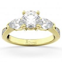 Three Stone Pear Cut Lab Grown Diamond Engagement Ring 14k Yellow Gold (0.51ct)