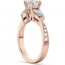 Three Stone Pear Cut Lab Grown Diamond Engagement Ring 18k Rose Gold (0.51ct)