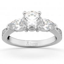Three Stone Pear Cut Lab Grown Diamond Engagement Ring 18k White Gold (0.51ct)