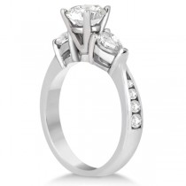 Three Stone Pear Cut Lab Grown Diamond Engagement Ring Palladium (0.51ct)