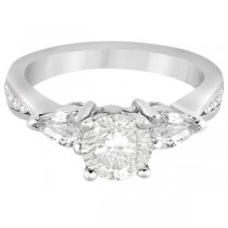 Three Stone Pear Cut Diamond Engagement Ring Palladium (0.51ct)
