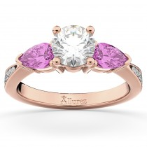 Diamond & Pear Pink Sapphire Engagement Ring 14k Rose Gold (0.79ct)