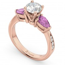 Diamond & Pear Pink Sapphire Engagement Ring 18k Rose Gold (0.79ct)