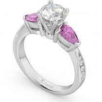 Diamond & Pear Pink Sapphire Engagement Ring 18k White Gold (0.79ct)