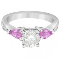 Diamond & Pear Pink Sapphire Engagement Ring Palladium (0.79ct)