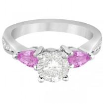 Diamond & Pear Pink Sapphire Engagement Ring Palladium (0.79ct)