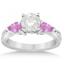 Diamond & Pear Pink Sapphire Engagement Ring Platinum (0.79ct)