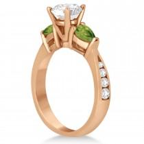 Cushion Diamond & Pear Peridot Engagement Ring 14k Rose Gold (1.29ct)