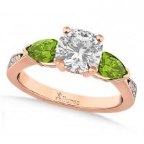 Cushion Diamond & Pear Peridot Engagement Ring 18k Rose Gold (1.29ct)