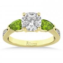 Cushion Diamond & Pear Peridot Engagement Ring 18k Yellow Gold (1.29ct)