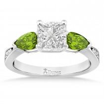 Princess Diamond & Pear Peridot Engagement Ring 14k White Gold (1.29ct)