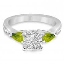 Princess Diamond & Pear Peridot Engagement Ring 18k White Gold (1.29ct)
