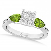 Princess Diamond & Pear Peridot Engagement Ring in Palladium (1.29ct)