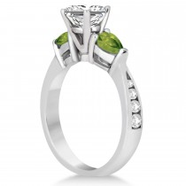 Princess Diamond & Pear Peridot Engagement Ring in Platinum (1.29ct)