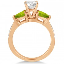 Round Diamond & Pear Peridot Engagement Ring 14k Rose Gold (1.79ct)
