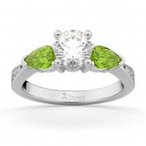 Round Diamond & Pear Peridot Engagement Ring 14k White Gold (1.79ct)