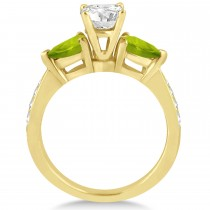 Round Diamond & Pear Peridot Engagement Ring 14k Yellow Gold (1.79ct)