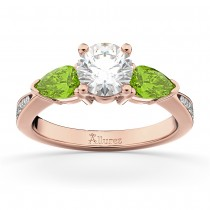 Round Diamond & Pear Peridot Engagement Ring 18k Rose Gold (1.79ct)