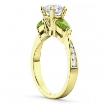 Round Diamond & Pear Peridot Engagement Ring 18k Yellow Gold (1.79ct)