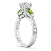 Round Diamond & Pear Peridot Engagement Ring in Palladium (1.79ct)