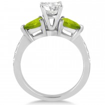 Round Diamond & Pear Peridot Engagement Ring in Platinum (1.79ct)