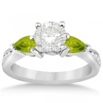 Diamond & Pear Peridot Engagement Ring 14k White Gold (0.79ct)