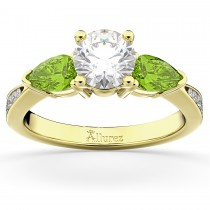 Diamond & Pear Peridot Engagement Ring 14k Yellow Gold (0.79ct)