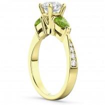 Diamond & Pear Peridot Engagement Ring 14k Yellow Gold (0.79ct)