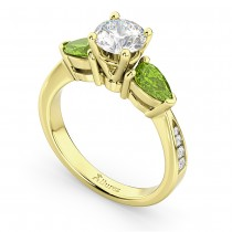 Diamond & Pear Peridot Engagement Ring 18k Yellow Gold (0.79ct)