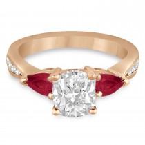 Cushion Diamond & Pear Ruby Gemstone Engagement Ring 14k Rose Gold (1.29ct)