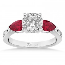 Cushion Diamond & Pear Ruby Gemstone Engagement Ring 14k White Gold (1.29ct)