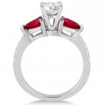 Cushion Diamond & Pear Ruby Gemstone Engagement Ring 14k White Gold (1.29ct)