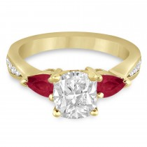 Cushion Diamond & Pear Ruby Gemstone Engagement Ring 14k Yellow Gold (1.29ct)