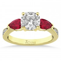 Cushion Diamond & Pear Ruby Gemstone Engagement Ring 18k Yellow Gold (1.29ct)