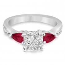 Princess Diamond & Pear Ruby Gemstone Engagement Ring 14k White Gold (1.29ct)