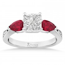 Princess Diamond & Pear Ruby Gemstone Engagement Ring 18k White Gold (1.29ct)