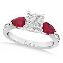 Princess Diamond & Pear Ruby Gemstone Engagement Ring Palladium (1.29ct)