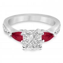 Princess Diamond & Pear Ruby Gemstone Engagement Ring Platinum (1.29ct)