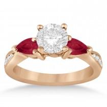 Round Diamond & Pear Ruby Gemstone Engagement Ring 14k Rose Gold (1.29ct)