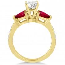 Round Diamond & Pear Ruby Gemstone Engagement Ring 14k Yellow Gold (1.29ct)