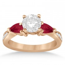 Round Diamond & Pear Ruby Gemstone Engagement Ring 18k Rose Gold (1.29ct)