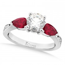 Round Diamond & Pear Ruby Gemstone Engagement Ring 18k White Gold (1.29ct)
