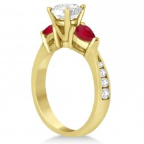 Round Diamond & Pear Ruby Gemstone Engagement Ring 18k Yellow Gold (1.29ct)