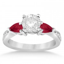 Round Diamond & Pear Ruby Gemstone Engagement Ring Palladium (1.29ct)