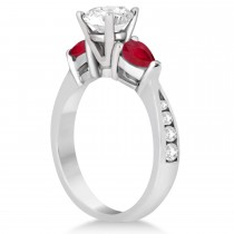 Round Diamond & Pear Ruby Gemstone Engagement Ring Platinum (1.29ct)