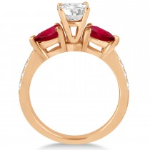 Round Diamond & Pear Ruby Gemstone Engagement Ring 14k Rose Gold (1.79ct)