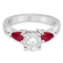 Round Diamond & Pear Ruby Gemstone Engagement Ring 14k White Gold (1.79ct)