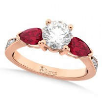 Round Diamond & Pear Ruby Gemstone Engagement Ring 18k Rose Gold (1.79ct)
