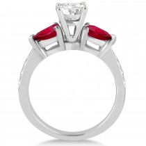 Round Diamond & Pear Ruby Gemstone Engagement Ring 18k White Gold (1.79ct)